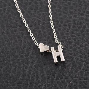 Jewelry - Silver H Initial Monogram Heart Charm Necklace